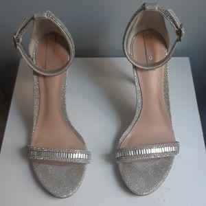 ALDO silver ankle strap heel